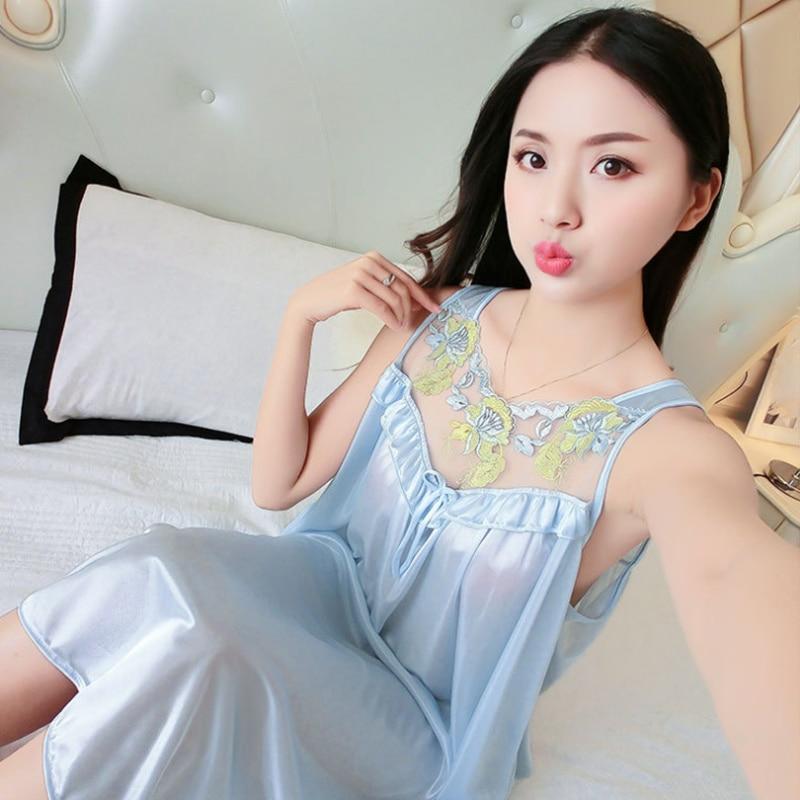 Women Casual Chemise 12 Color Nightie Nightwear Lingerie Nightdress Sleepwear Dress Hot Sale Plus Size New Sexy Silk Nightgowns 5
