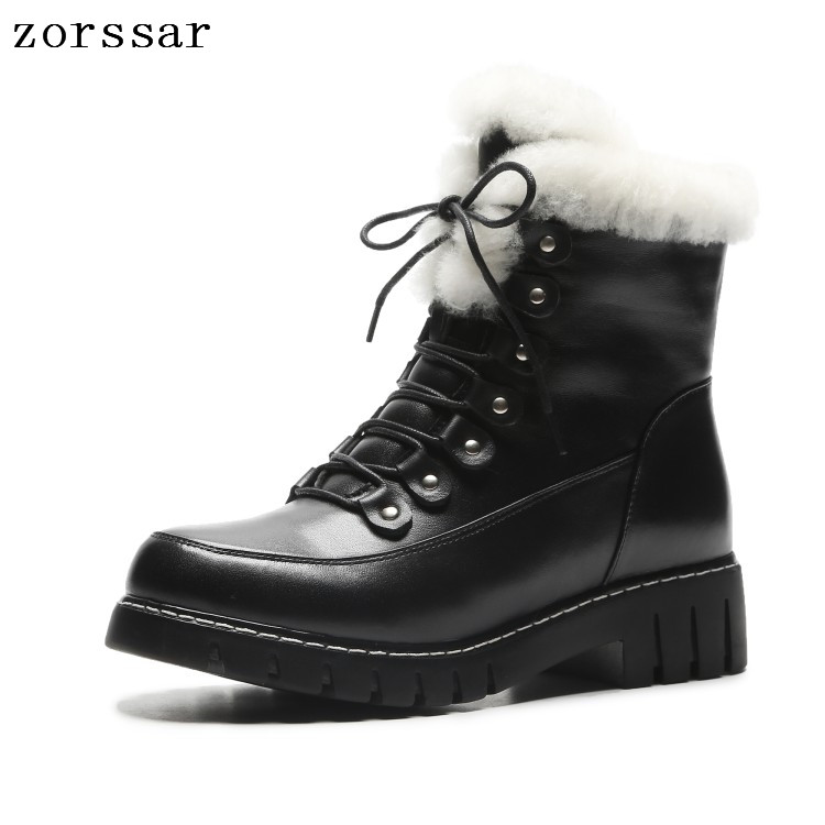 {Zorssar} 2018 New Women Boots winter Genuine Leather lace up flat Ankle Martin Boots Warm Plush inside Women snow boots shoes