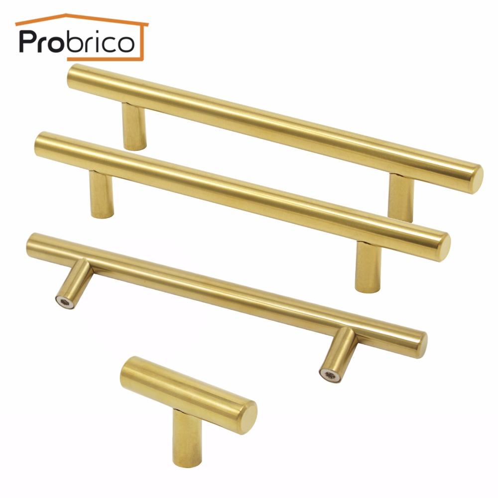Probrico Gold Cabinet Handle Stainless Steel 12mm Hole Center 64 mm~256mm Kitchen T Bar Door Knob Furniture Drawer Cupboard Pull mini stainless steel handle cuticle fork silver