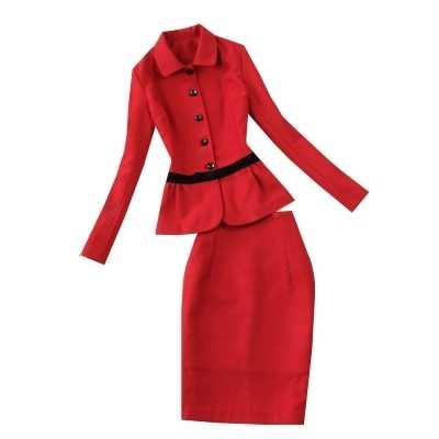 6f174d7ce720 Женские модные костюмы 2018 осень и зима новый китайский красный  приталенный ...