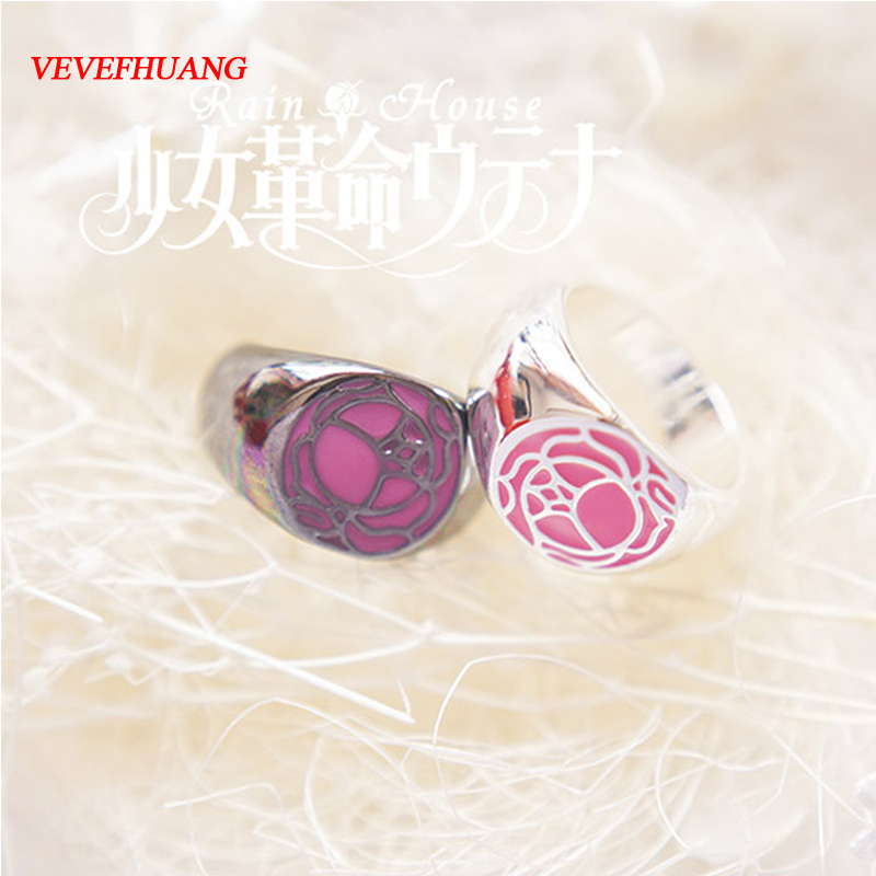 VEVEFHUANG Anime Revolutionary Girl Utena Utena Tenjo GEM Cosplay Ring Rose Signet Ring Cosplay Accessories Badge