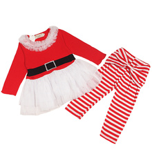 2016 new Santa Claus clothes girls dress+pants 2pcs suits childrens Christmas gift baby clothing set for party