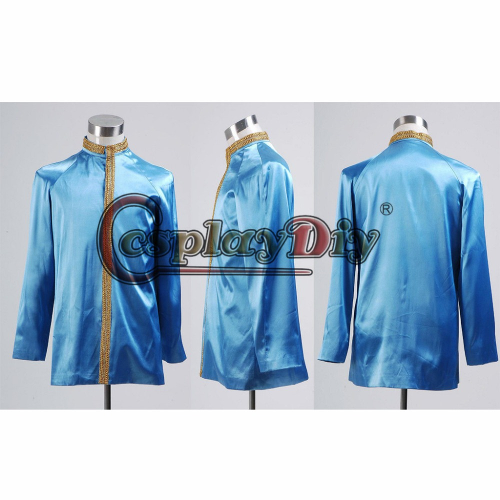 Cosplaydiy Star Trek First Officer Satin Green Uniform Jacket Cosplay Costume Adult Cosplay Clothing Custom Made