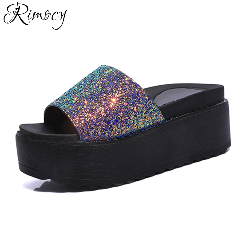 Rimocy high platform summer sandals women shinning glitter beach casual slip on wedges slides shoes woman fashion heels slippers new 2018 shoes woman sandals wedges lovely jelly shoes solid casual slippers summer style fashion slides flats free shipping