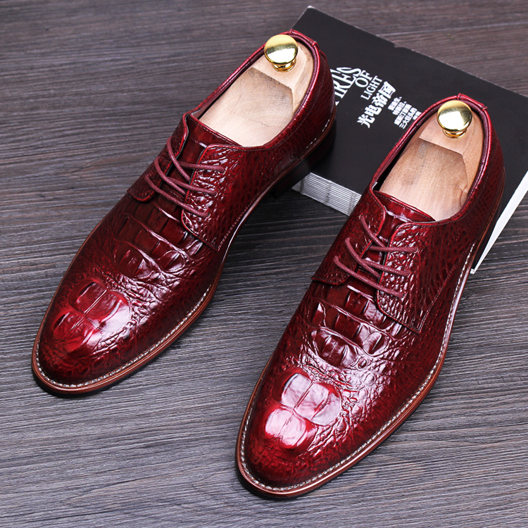 England fashion men business wedding formal dress crocodile pattern genuine leather brogue shoes lace-up flats oxford shoe male