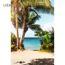 Laeacco Tropical Portrait Photographic Backgrounds Customized Palm Tree Summer Photocall Photography Backdrops For Photo Studio