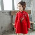 2017 spring red Girls chinese new year dress cheongsam dress