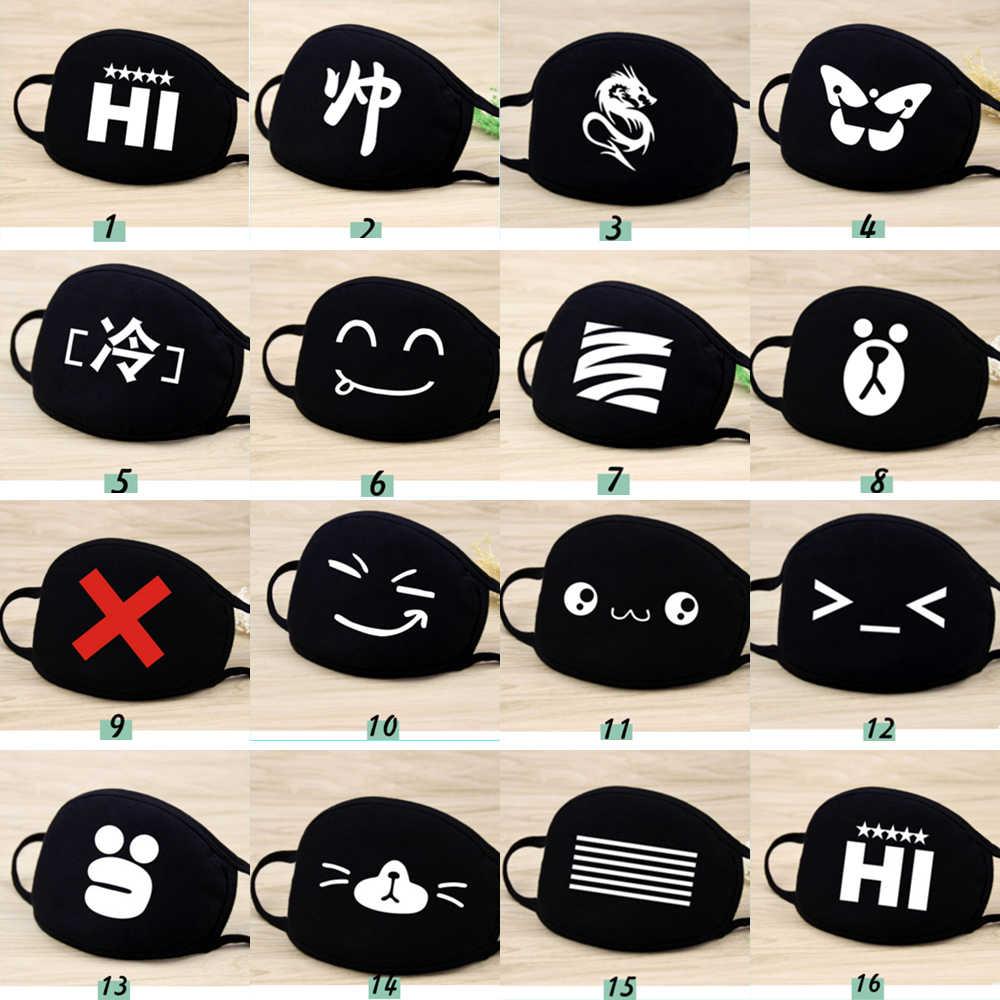 Moledodo 1 PC PM2.5 Anti-Kabut Mulut Masker Kapas Bernapas Fashion Hitam Naik Debu Dingin Penebalan Mulut Masker D50