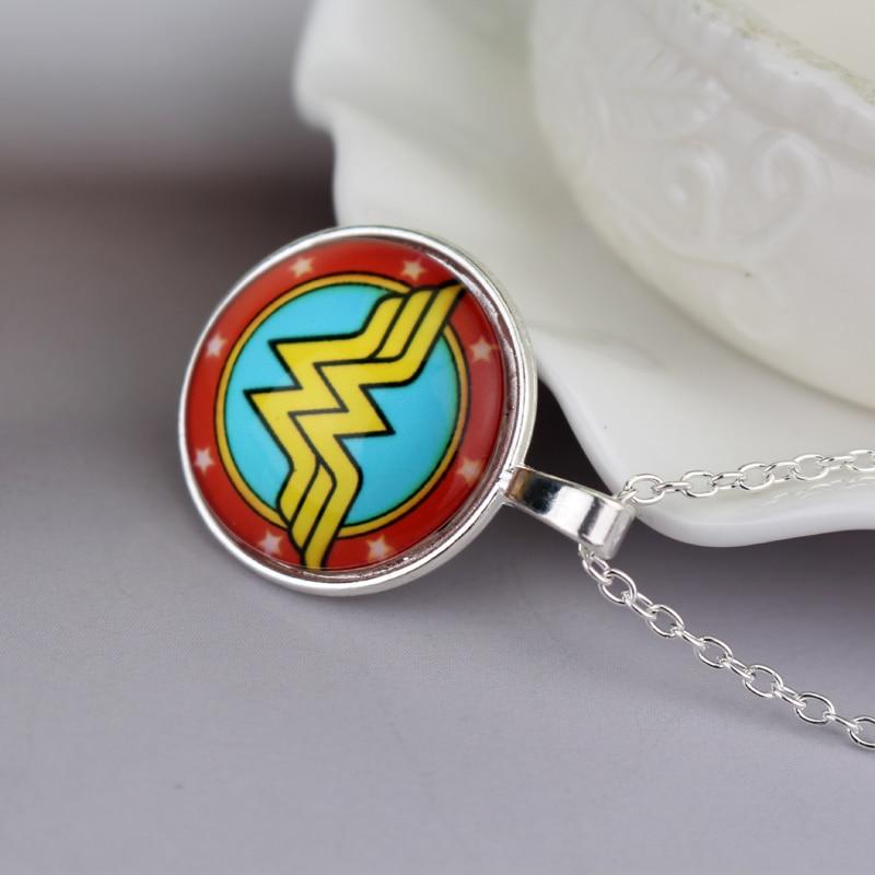 dongsheng DC Superhero Wonder Woman Super Hero Supergirl Logo Alloy Pendant Necklace Gift For Women Charm Movie Jewelry -30