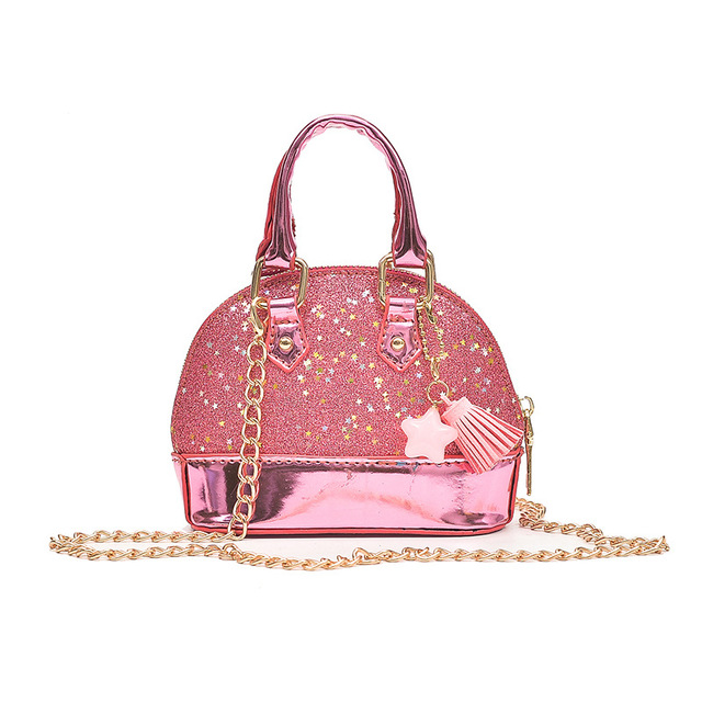 c228aa0d798 Cute Baby Toddler Child Shoulder Bags Leather Girls Crossbody Bag Mini Size  Chain Shine Rock Shell Bags Women Small Handbags-in Shoulder Bags from ...