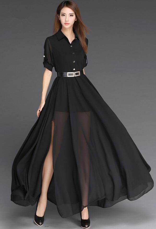 146be044192 Robe d été en mousseline de soie 2019 noir et blanc longue Robe Style  coréen mode Robe Femme côté fente Maxi femmes Robe avec ceinture Vestidos  dans Robes ...