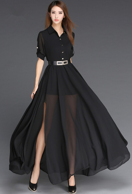 60c19f9d12bf Sundress Chiffon 2019 Black And White Long Dress Korea Style Fashion Robe  Femme Side Slit Maxi Women Dress With Belt Vestidos