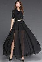 New 2016 Black And White Long Dress European Style Side Slit Chiffon Dresses Womens Fashion Maxi