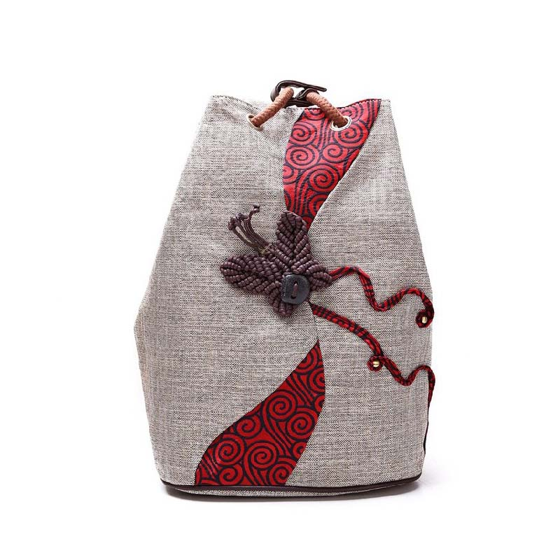 Chinese Retro Style Women Canvas Backpack Butterfly Ethnic Backpacks Drawstring Backpack Girl Shoulder Bags