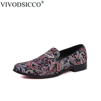 VIVODSICCO New Handmade Embroidery Men's Loafers Smoking Slipper Zapatillas Superstar Casual Moccasins Slip on Men's Flats