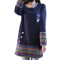 Women Plus Size Casual Loose Thick Autumn Winter Blouses O Neck Polka Dot Long Sleeve Appliques