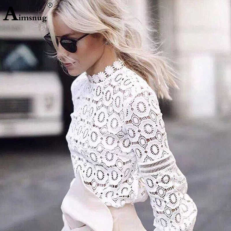 Elegancka koronkowa bluzka Sexy Hollow Out jednolity kolor kobieca bluzka biały Splice kobiety koszula długim rękawem latarnia lato kobiet topy