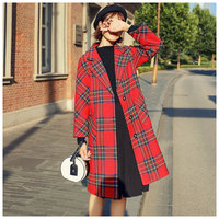 Winter Woman Plaid Red Wool Coats 2018 Outwear Female Elegant Single Breasted Trench Coats Ladies Long Jackets Coats