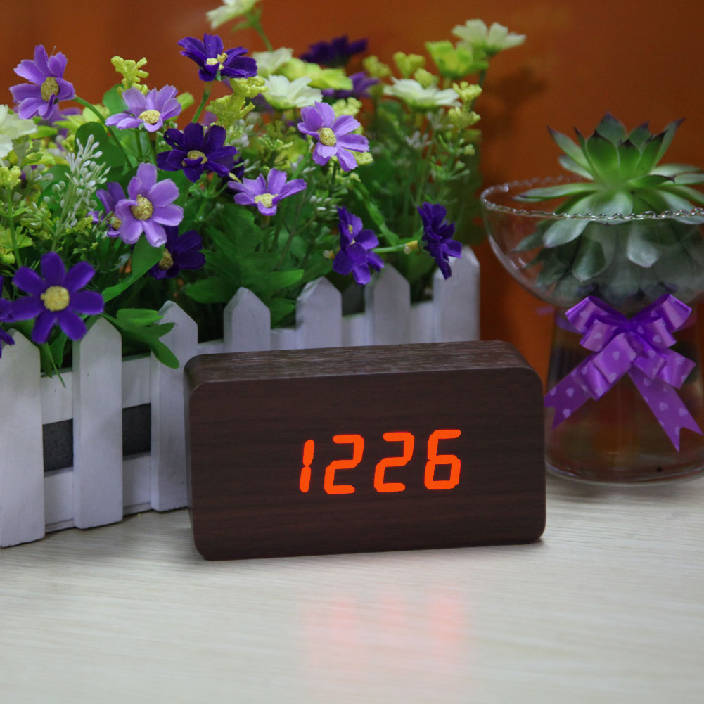 Creative Design LED Digital Alarm Clock Calendar Thermometer Modern Wooden Clock Home Bedroom Decorative Article Free Shipping
