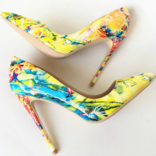 Keshangjia  2018 spring new women pumps printing flowers shoes sexy pointed toe thin high heel party wedding shoes females