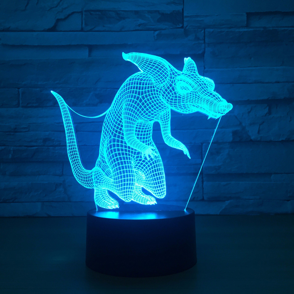 3D Visual Baby Sleep Lighting Bedroom Decor Gifts Cuon Alpinus Table Lamp Cute Animal Wolf Fox 7 Colors Changing Led Night Light