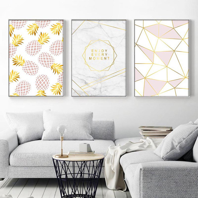 Golden Geometric Nordic Posters and Prints Pineapple Fruit Canvas Painting Wall Art Picture For Living Room Modern Home Decor