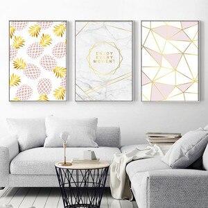 Image 1 - Złoty geometryczny Nordic plakaty i druki ananas owoce płótno malarstwo ścienne obraz sztuki do salonu nowoczesne dekoracje do domu