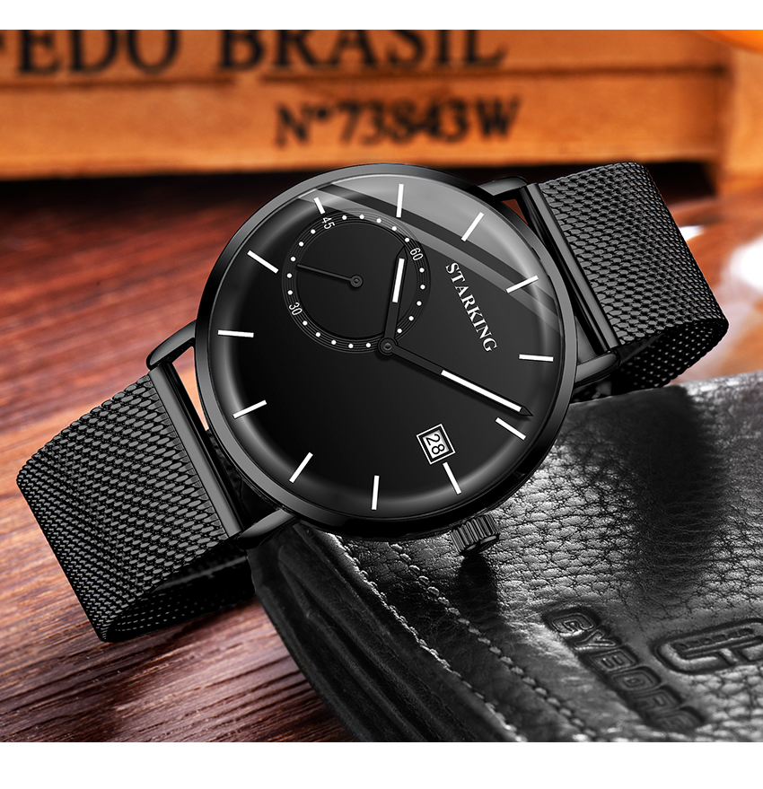 HTB1uTFEelKw3KVjSZFOq6yrDVXaz STARKING Dress Men Watch Steel Mesh Band Quartz Analog Wristwatch 3ATM Waterproof Curved Glass Blue Male Clock Relogio Masculino