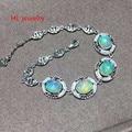 7x9mm Geometric Shape Opal Bracelets 925 silver Natural Fire Opal Chain Bracelets for Women