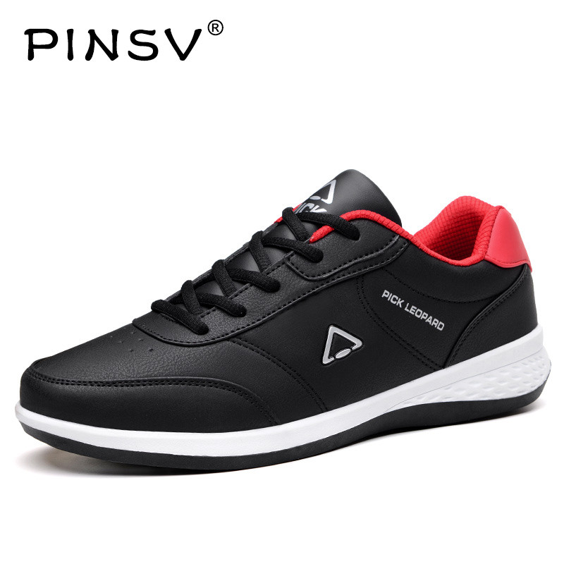 PINSV PU Leather Shoes Men Sneakers Mens Shoes Casual Loafers Black Autumn Shoes Men Sapato Masculino Chaussures Homme 2018 genuine leather men s vulcanized shoes black white mans footwear flats sneakers casual shoes sapato masculino
