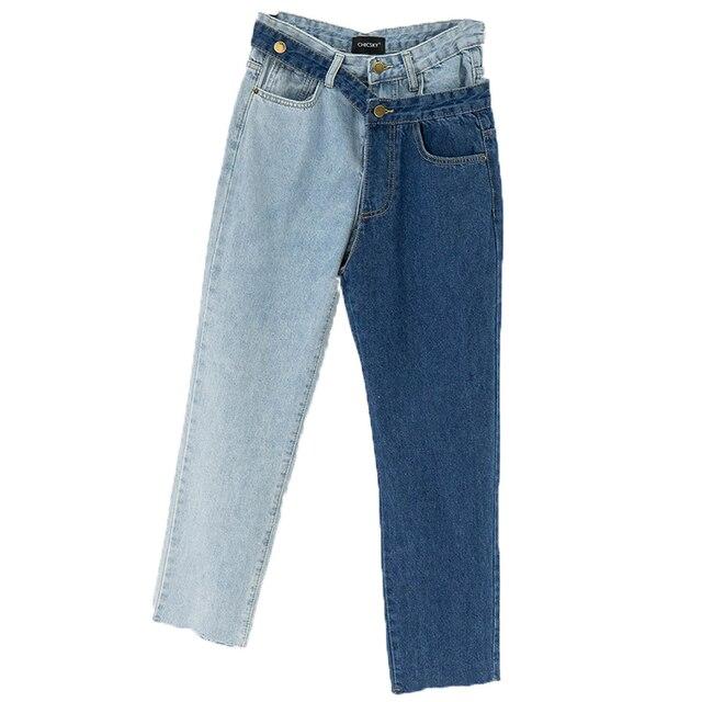 [EAM] nouveau printemps 2020 mode taille haute Patchwork Hit couleur détachable bleu jean droit Denim pantalon femmes SC08