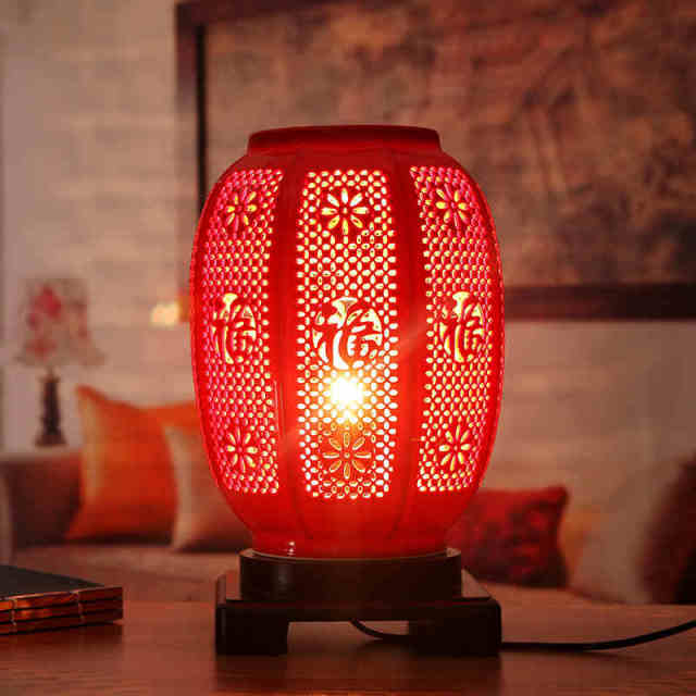 Red Vintage Chinese Porcelain Ceramic Table Lamp Bedroom Living - Red table lamps for bedroom