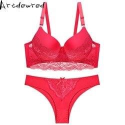 Женский сексуальный комплект нижнего белья, кружевной комплект нижнего белья пуш-ап размера плюс, комплект с бюстгальтером из льна, красный... 2