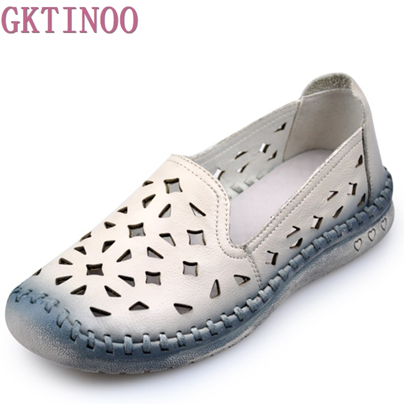 2018 New summer Handmade breathable women's shoes genuine leather female hole loafers soft outsole casual shoes flats cyabmoz 2017 flats new arrival brand casual shoes men genuine leather loafers shoes comfortable handmade moccasins shoes oxfords