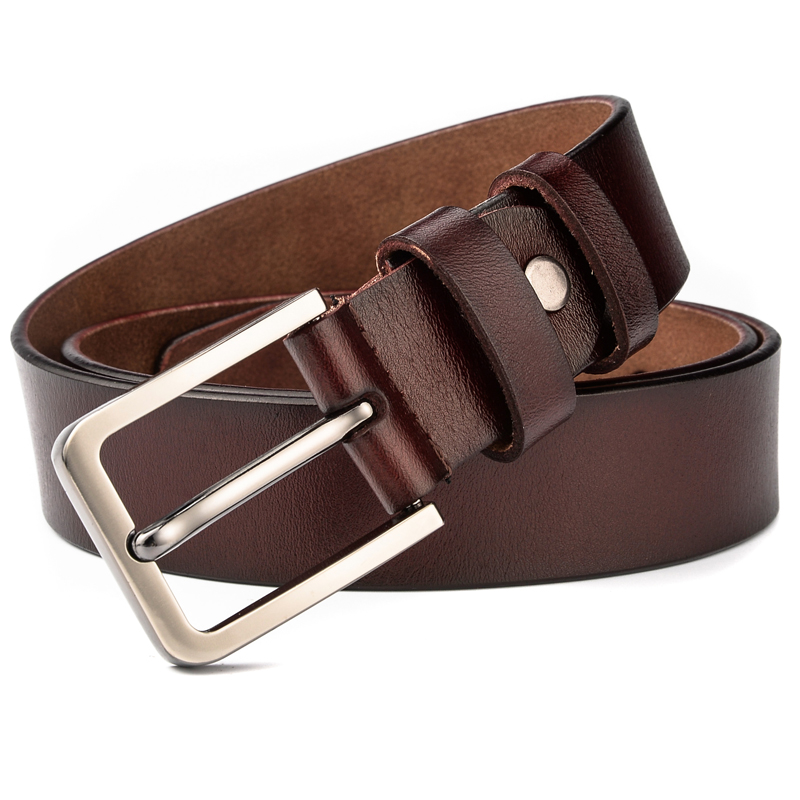 El Barco New Cowhide Leather Men Belt High Quality Luxury Designer Black Male Belts Brown Coffee Pin Buckle Waist Strap Size 125 Elegant In Style Back To Search Resultsapparel Accessories