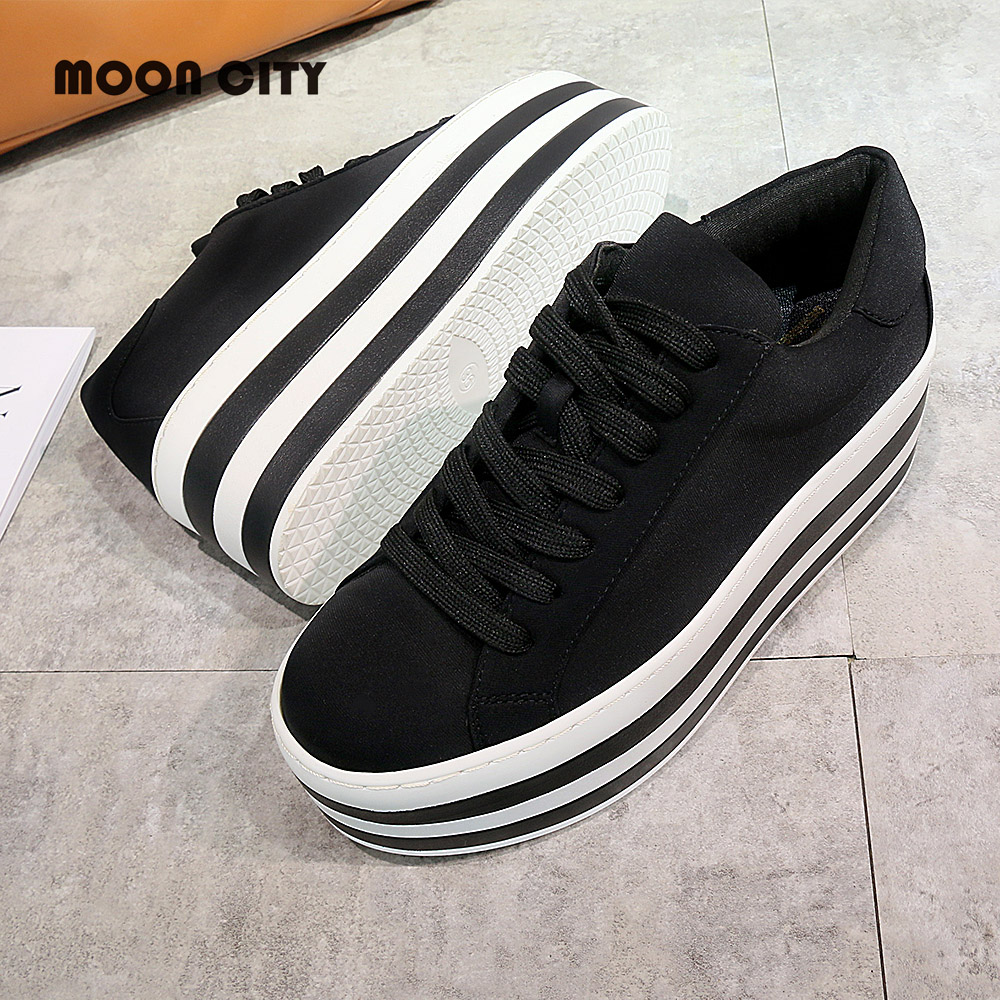 Women's Vulcanize Shoes Woman platform Sneakers Ladies Low-cut Casual Canvas elastic fabric Footwear female Brand Thick bottom