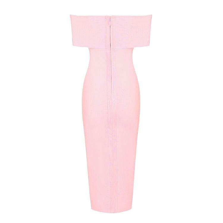 Rayonne Date Clubware Robe De rouge Noir Fork Veau Bandage 2018 Rose Ouverte Midi Outre rose blanc L'épaule vnZzz7