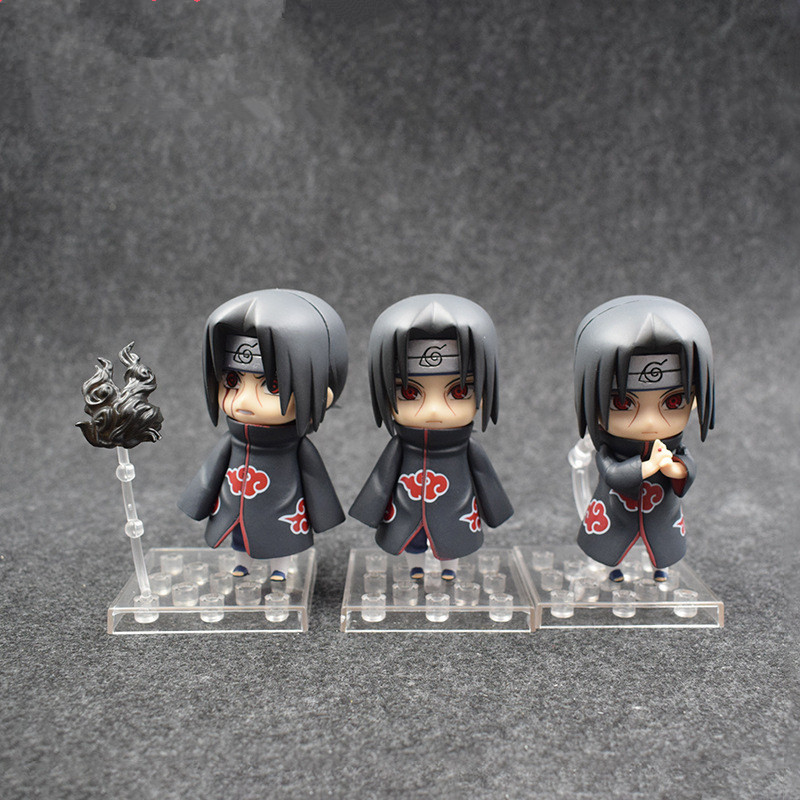 3 pcs/set Nendoroid Naruto Shippuden Uchiha Itachi Akatsuki GSC Q-Version PVC Action Figure Collectible Model Toy