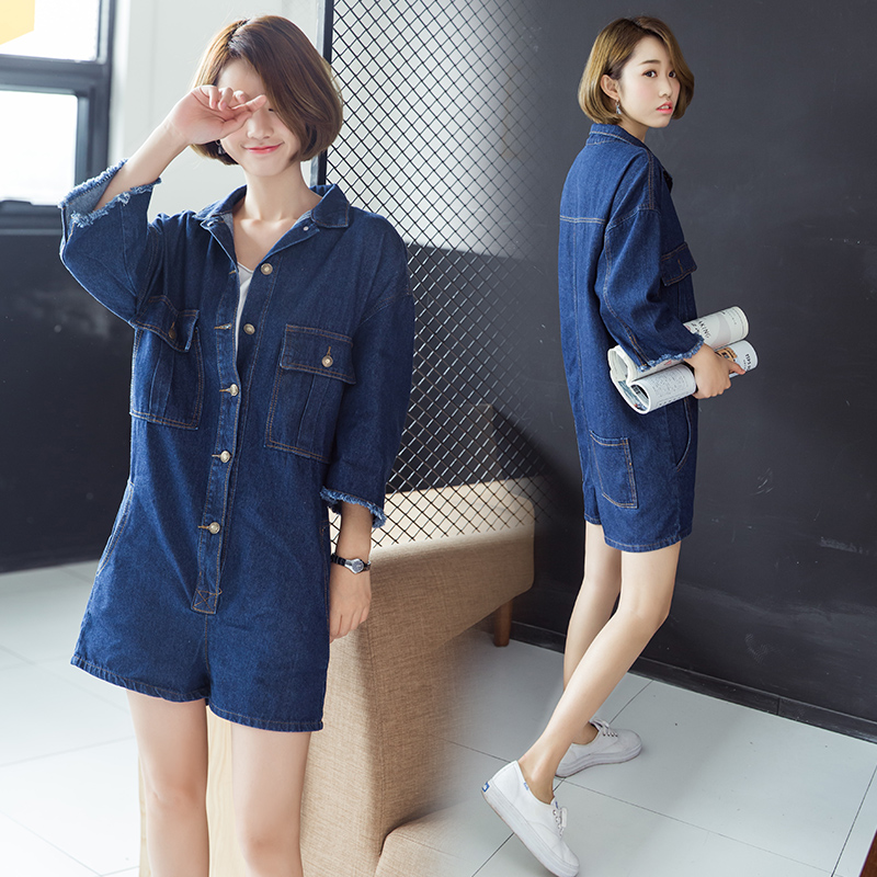 S-3XL Women Plus Size Casual Single Breasted Playsuits Three Quarter Ripped Sleeve Vintage British Style Jeans Jumpsuit Romper
