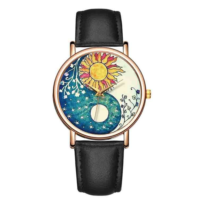 B-9207 Fashion Wrist Watches Sunflower Women Colorful Landscape Watches Ladies Leather Analog Quartz Clock Relojes Feminino