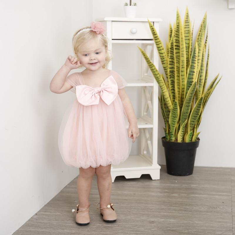 Yoyoxiu 2018 Summer Baby Girl Dress Pink Cute Infant Dress Mesh Christening Dress Bow Suspenders Sleeveless Dress