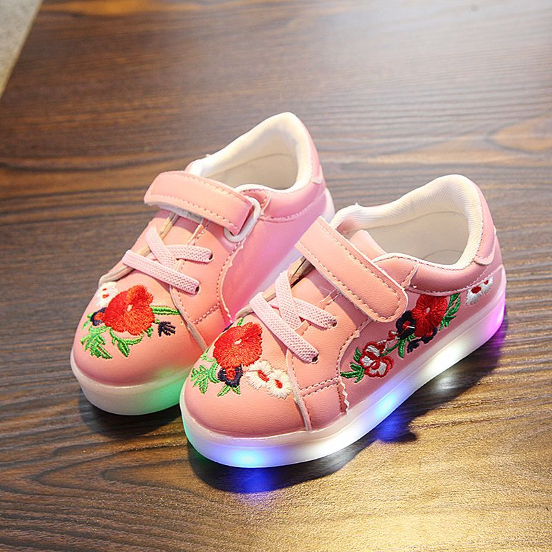 kwiatowy print PU skórzane buty dziecięce led świecące trampki - Obuwie dziecięce - Zdjęcie 2