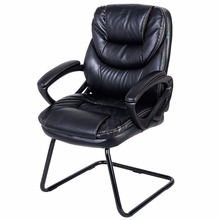 Goplus Black Mid Back Computer Chair Black Pu Leather Sled Base Guest Visitor Chair Office Desk Side Gaming Chair HW50416