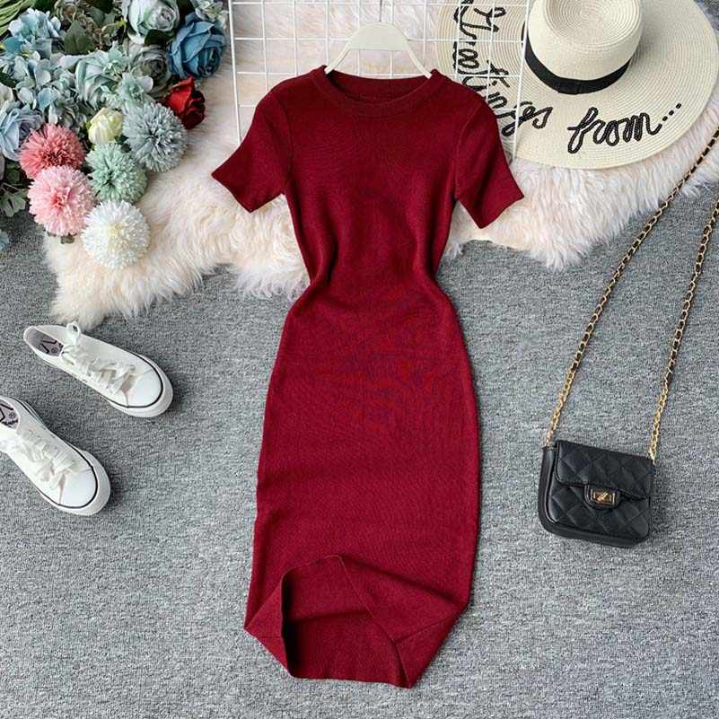 NiceMix Knitted Solid Women Dress Summer 2019 New O-Neck Short Sleeve Vestidos Fashion Stretch Waist Bodycon Dresses