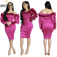 IMYSEN Spring Autumn Fashion Women Dress Solid Off Shoulder Long Sleeve Ruffled Dresses Party Celebrity Mini