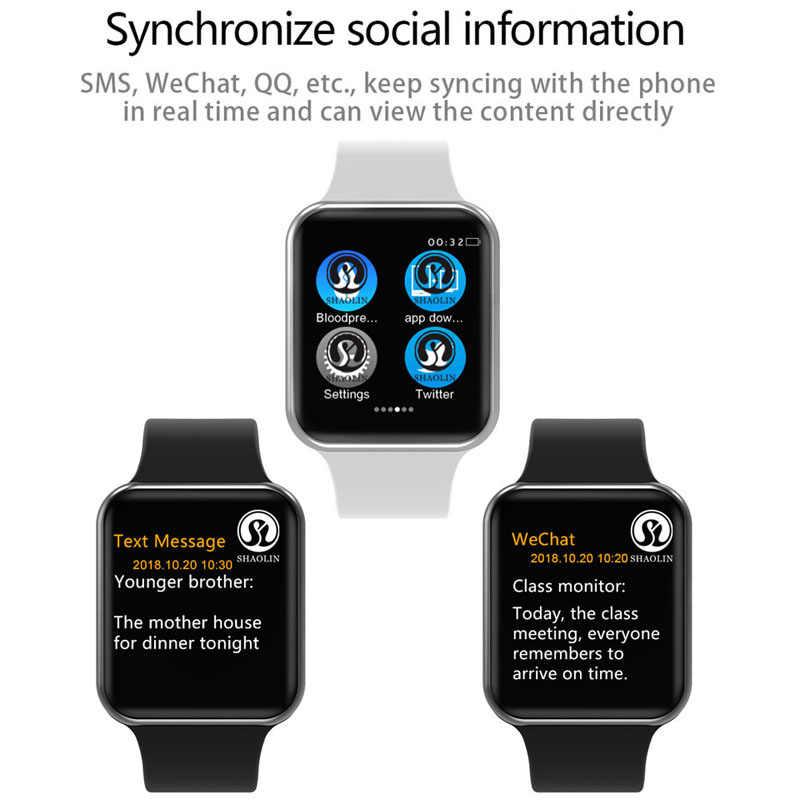 Hommes femmes Bluetooth montre intelligente série 4 SmartWatch pour Apple iOS iPhone Xiaomi Android téléphone intelligent Hua wei facebook (bouton rouge)