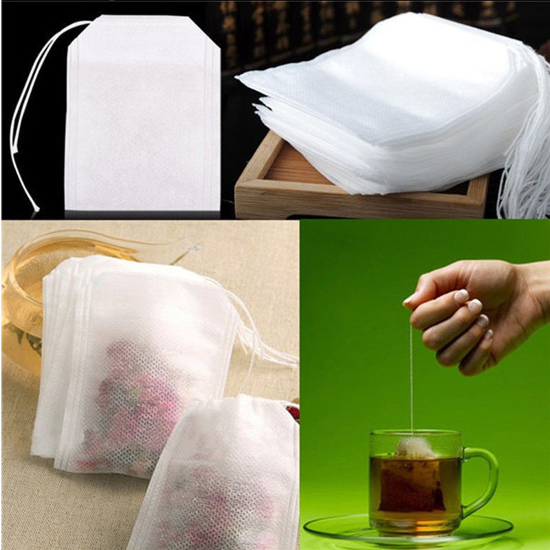 100pcs 5.5 X 7CM Empty Polyester Mesh Drawstring Tea Bag Food Grade Tea Filter Tea Infuser Kitchen Accessories Gadget Teaware,Q