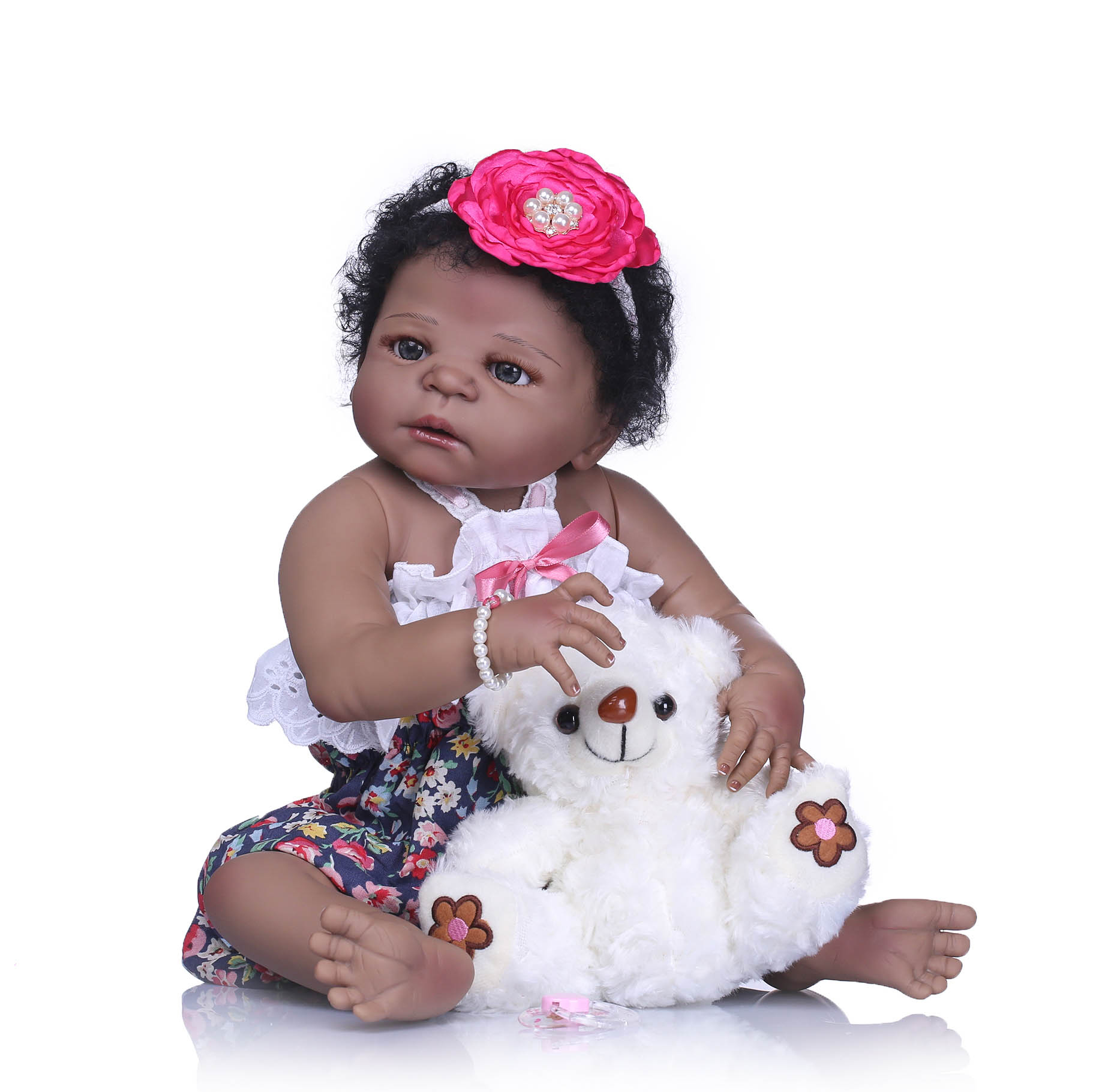 23 57cm Black Girl So Truly Realistic Baby Doll Toy Full Silicone Body Waterproof Kids Playmates Girl Doll Christmas Gifts