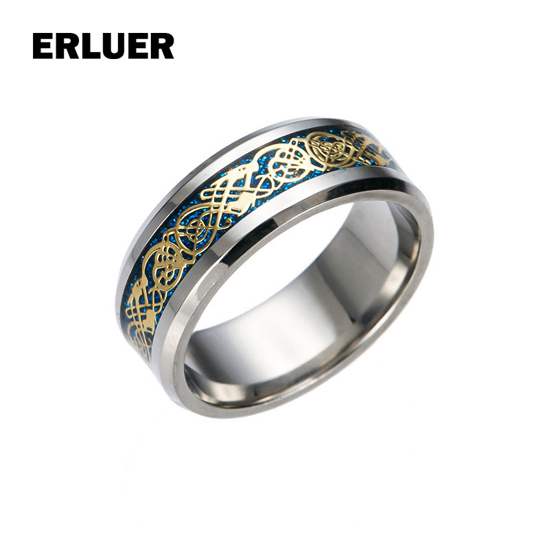 Dragon Rings For Men women European American Retro Stainless Steel Ring Punk Vintage Jewelry Gift Fashion Dragon Rotate Bague