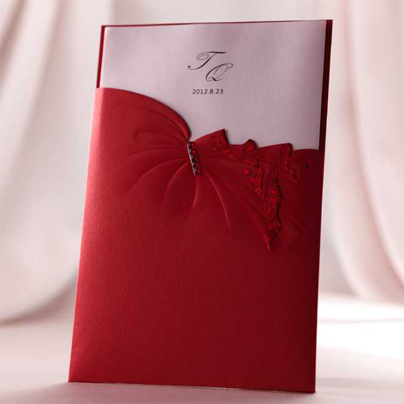 Advanced Elegant Design Lace Bow Ribbons Red Wedding invitaitons Kit Blank Paper Invitation Card Printing Casamento Para Convite design laser cut lace flower bird gold wedding invitations kit paper blank convite casamento printing invitation card invite